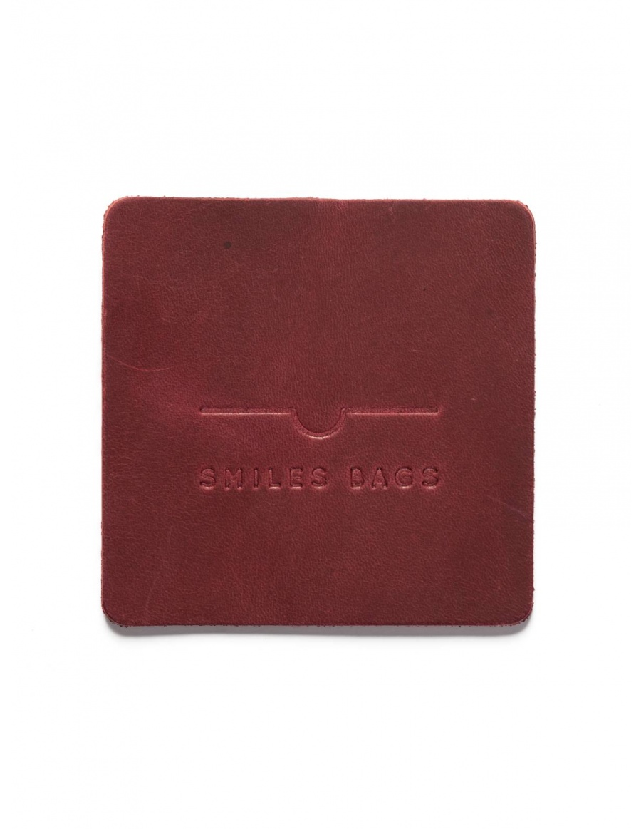 Leather mug coaster - bordo