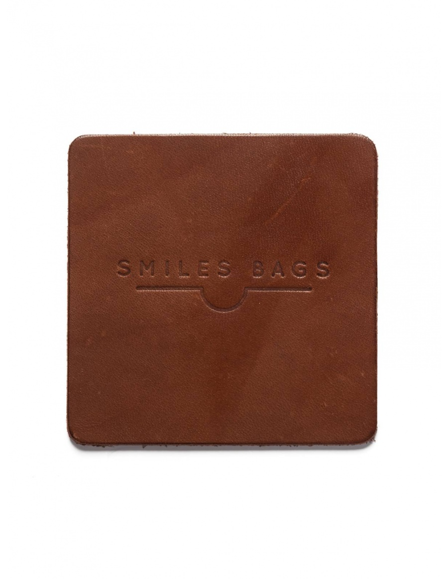 Leather mug coaster - brown