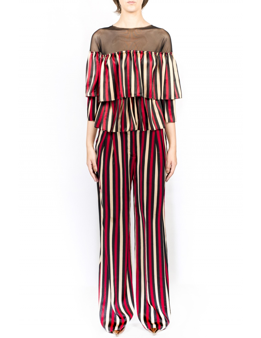 Wide pants with stripes