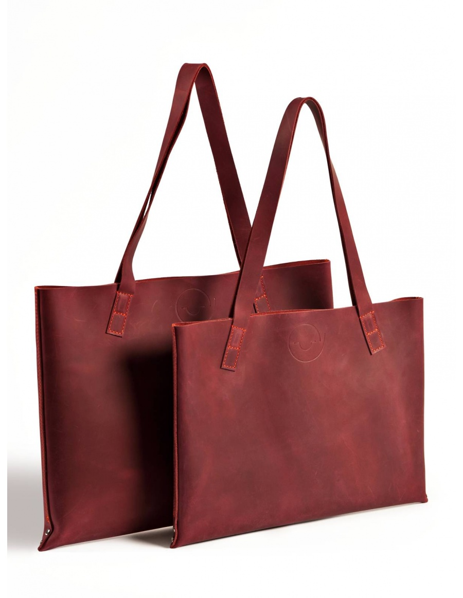 Leather tote bag - bordo