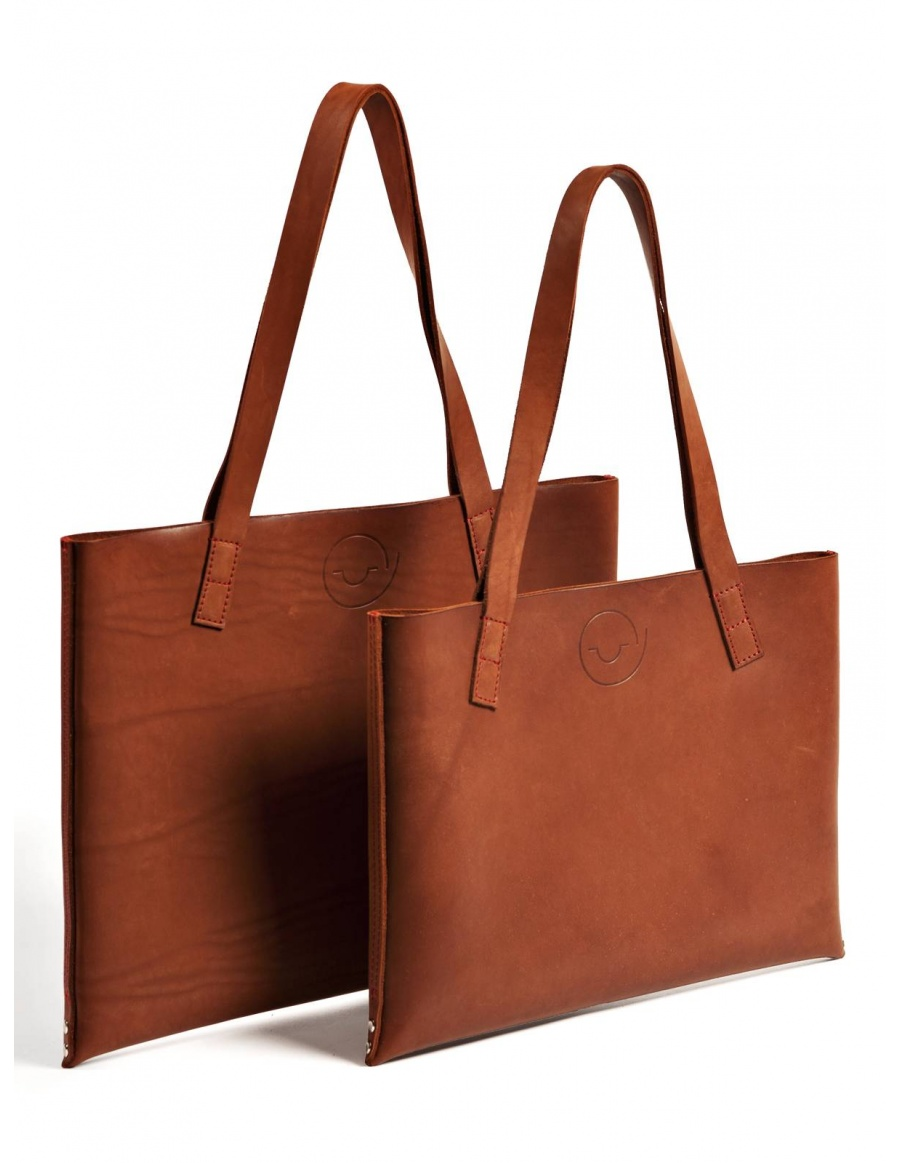 Leather tote bag - brown