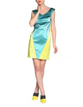 Wet look color block dress | Silvia Serban