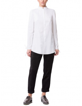 White Cotton Shirt with Ruffled Collar