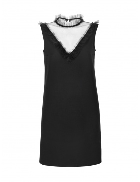 Crystal Black Dress with Ruffles and Sequins on Tulle