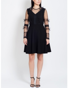 Raquel Crepe Dress with Lace and Sequins textures and Sheer Sleeves
