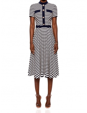 Navy stripe cloche dress | Nissa