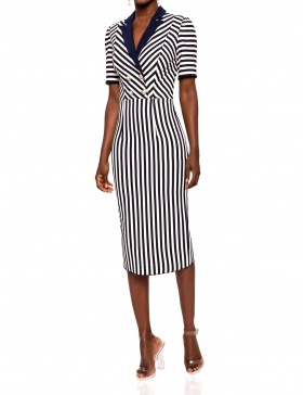 Navy stripe dress with contrast lapel | Nissa