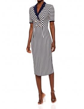 Navy stripe dress with contrast lapel | Nissa