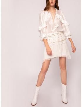 Metallic applique sillk skirt