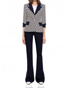 Navy stripe blazer with contrast lapel | Nissa