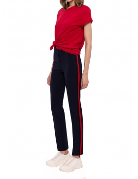 Slim pants with contrast side stripe | Nissa