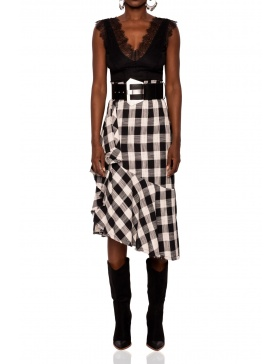 Plaid side ruffle asymmetric skirt | Nissa