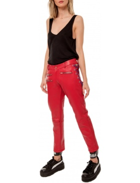 MARLOWE RED LEATHER PANTS | CORINA VLADESCU