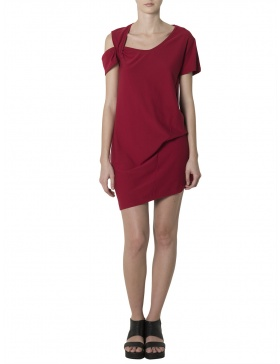 Asymmetric Red Mini Dress