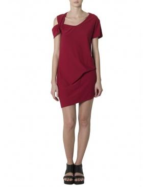 Asymmetric Red Mini Dress