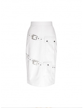 Palomma white leather skirt