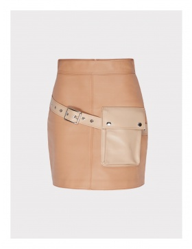 Desire short cream leather skirt