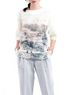 Soft cotton blouse with digitally printed design signed Sandra Chira