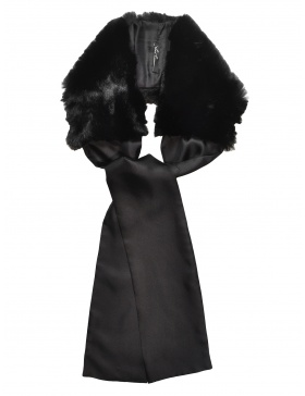 Silk and Black Fur Scarf