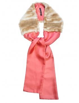 Silk Beige Fur Scarf
