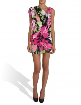 Jerse dress with roses