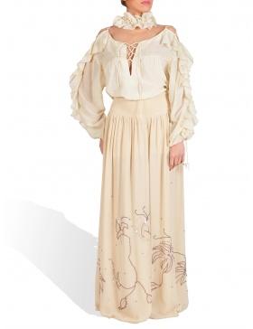 Silk hand embroided long skirt
