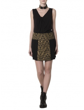 Mini skirt with vintage gold embroidery