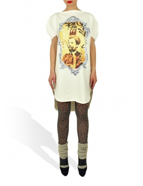 Long Princely T-Shirt Le Roi Rasta in Milk