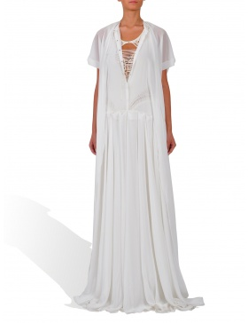 White long dress with beige jerse lining