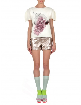 Princely Royaly Cherry Blossom Girl T-shirt in Milk -