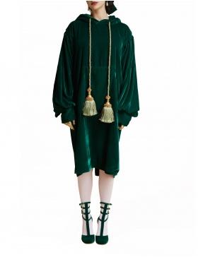 Dark emerald hoodie dress