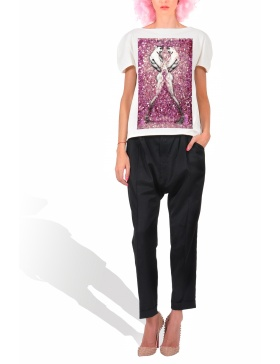 Princely Pink Narcissus T-shirt in Milk