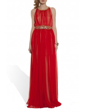 Silk veil evening gown