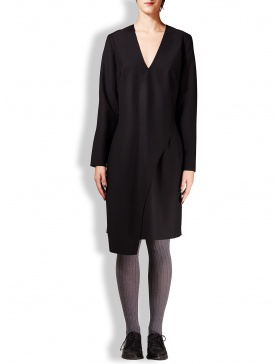 Black cloth dress with asymmetric cuts