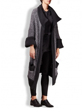 Fluffy wool cardigan with patent