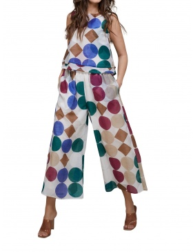 Afternoon Coffee Wide Cotton Trousers