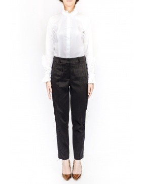 Cigarette black dotted pants