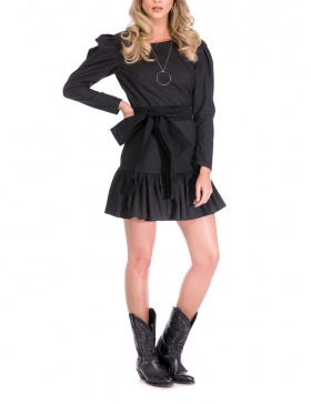 BLACK POPLIN DRESS | Cloche