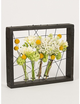 Black frame wth test tubes for flowers