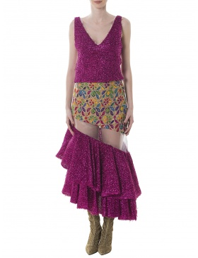 Embroidery skirt with ruffles