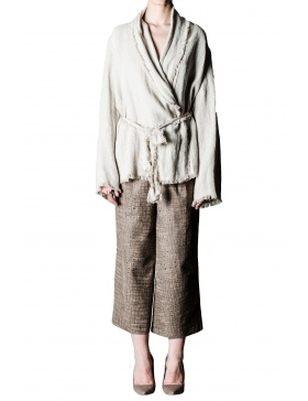 Crocodile print leather culottes