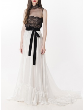 Ruffled silk chiffon and lace A-Line Gown