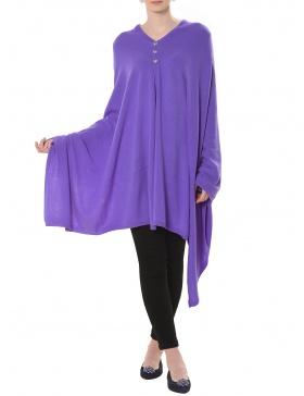 Cashmere Buttoned Shawl Lavanda