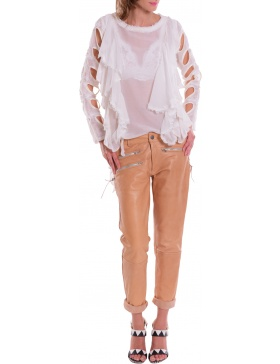 Marlowe toffee leather pants