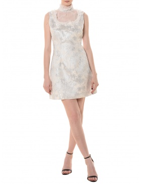 Brocade dress with silk collar