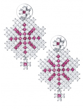 """Snow Embroidery"" Earrings"