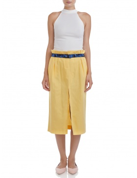 Midi skirt with slit #yellow