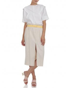 Midi skirt with slit #beige