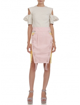 Deconstructed skirt with leather tassels