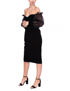 Velvet dress with silk organza sleeves